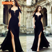 Fashion Women Black Long Evening Dresses 2019 Sexy Evening Gowns Real Photos Scoop Chiffon Slim Fit Banquet Formal Party Dress
