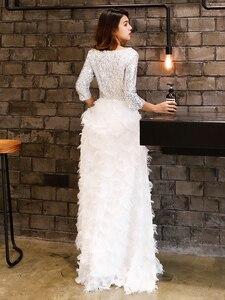 Image 5 - Wei Yin Robe De Soiree 2020 New Elegante Una Linea di Collo a V Bianco Del Merletto Convenzionale Lungo Abiti da Sera con Paillettes Partito abiti WY1112