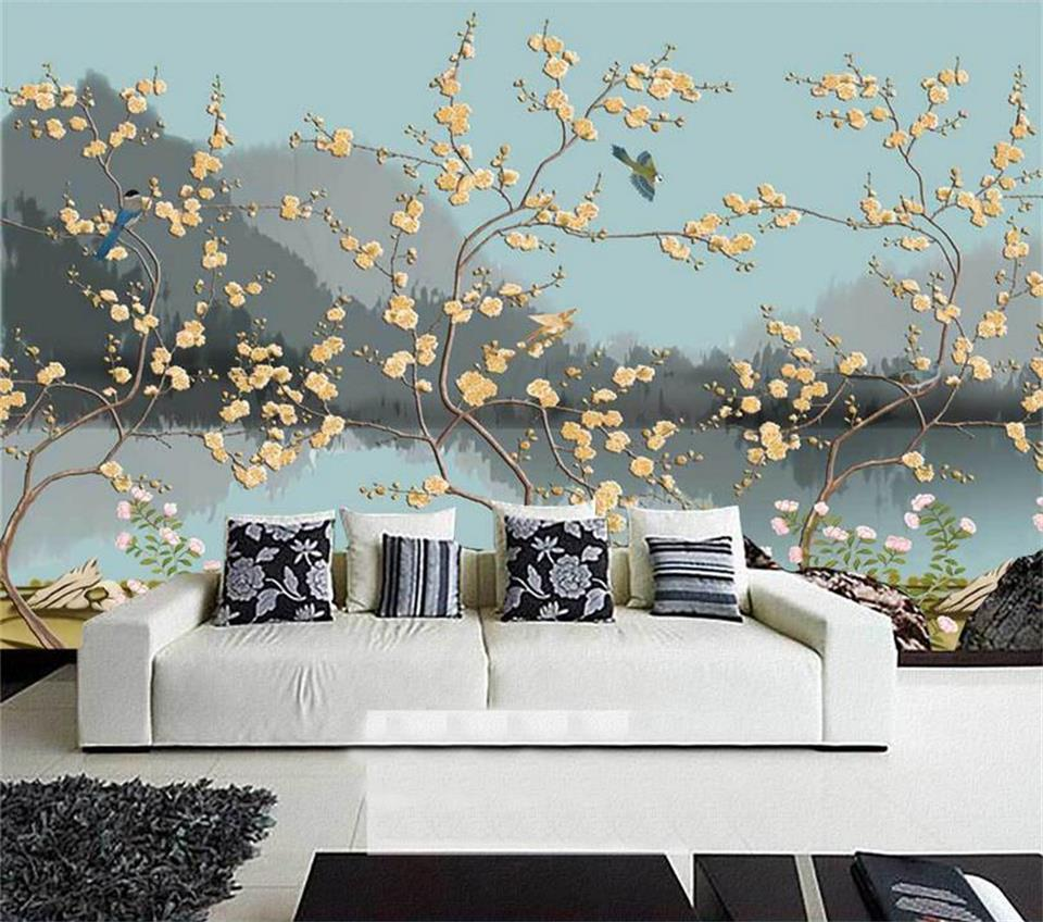 3d wallpaper custom photo wallpaper living room mural flower and bird landscape 3d painting TV background wallpaper for wall 3d custom photo wallpaper 3d stereoscopic relief statue living room tv background wall painting wallpaper mural papel de parede 3d