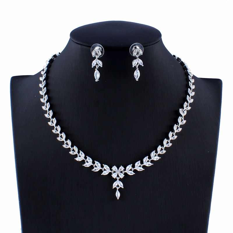 jiayijiaduo Indian Women's Crystal Wedding Jewelry Set Silver Color Bridal Necklace Earrings Set Crystal dropshipping
