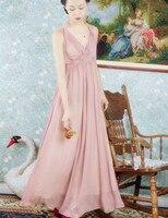 التصميم الأصلي الصيف النساء خمر اليونانية آلهة الشريط جنية حمالة الرقبة أكمام الأنيق سليم الشيفون طويل ماكسي اللباس