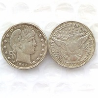 90 Silver 1902 Barber Quarter Dollars Retail Wholesale USA Copy Coins