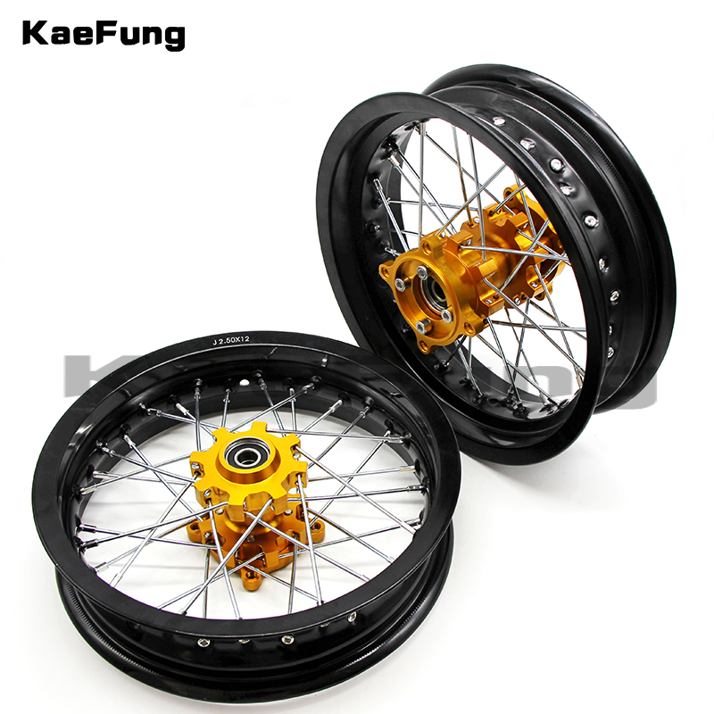 black motorcycle dirt Pit bike Rims 12mm hole 2.50x12 inch & 3.00x12 inch front and rear wheel rim whit CNC hub