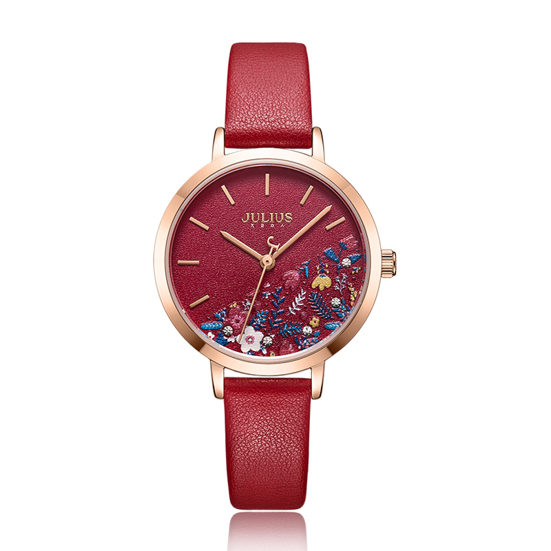Lovely Printing Flower Lady Women's Watch Elegant Japan Mov't Clock Fashion Hour Genuine Leather Bracelet Girl's Julius Gift Box