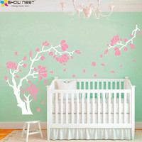 Magnolia Flower Tree Wall Art Stickers Wall Decals Vinyl Stickers Home Decor Stikers For Wall Decoration