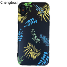 Fashion Artistic Leaf Phone Case for IPhone 7 6 6S 8 Plus Frosted Hard Bags for IPhone X XS Max XR Back Cover Funda Shell