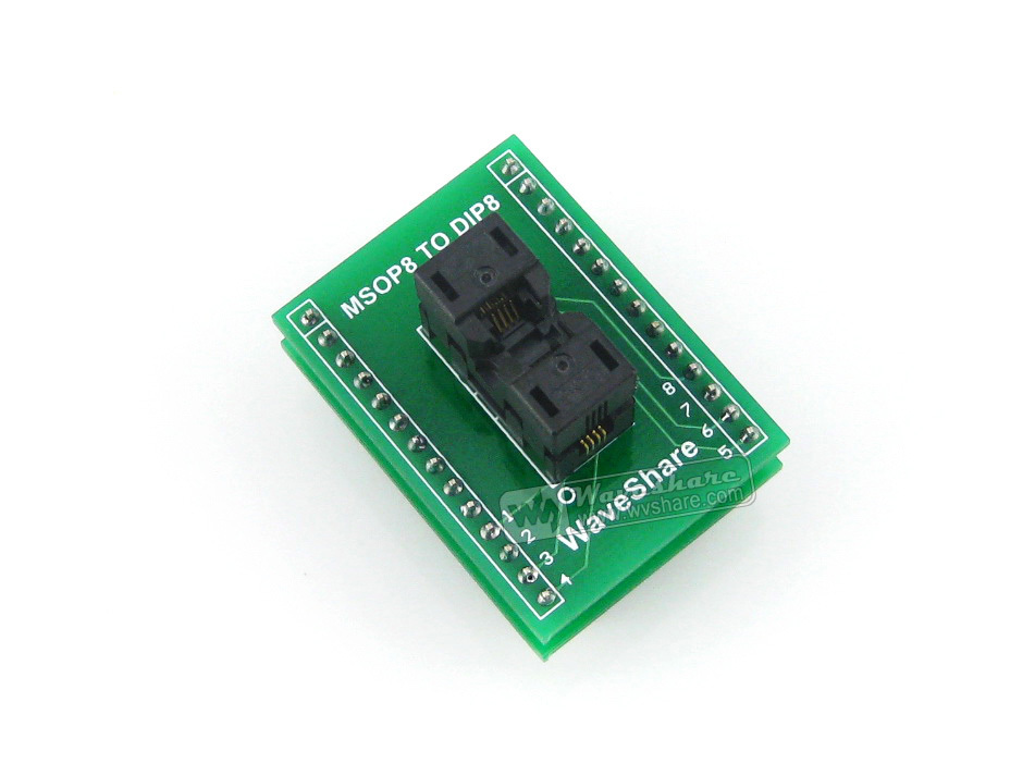 module Waveshare SSOP8 TO DIP8 (A) TSSOP8 MSOP Wells IC Test Socket 656-1082211 Programming Adapter 0.65mm Pitch sop8 to dip8 programming adapter socket module black green 150mil