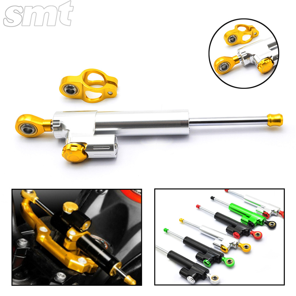 Universal Motorcycle CNC Damper Steering Stabilizer Damper Linear Reversed Safety Control for honda shadow mt07 fz6 z750 2015 brand new universal motorcycle cnc aluminum steering damper blue color stabilizer linear reversed safety control 5 colors