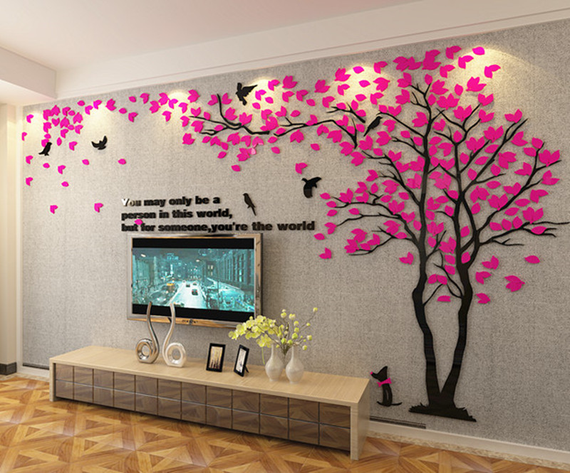 3D cieta akrila sienas uzlīmes viesistabas dīvāns TV fona sienas - Mājas dekors - Foto 2