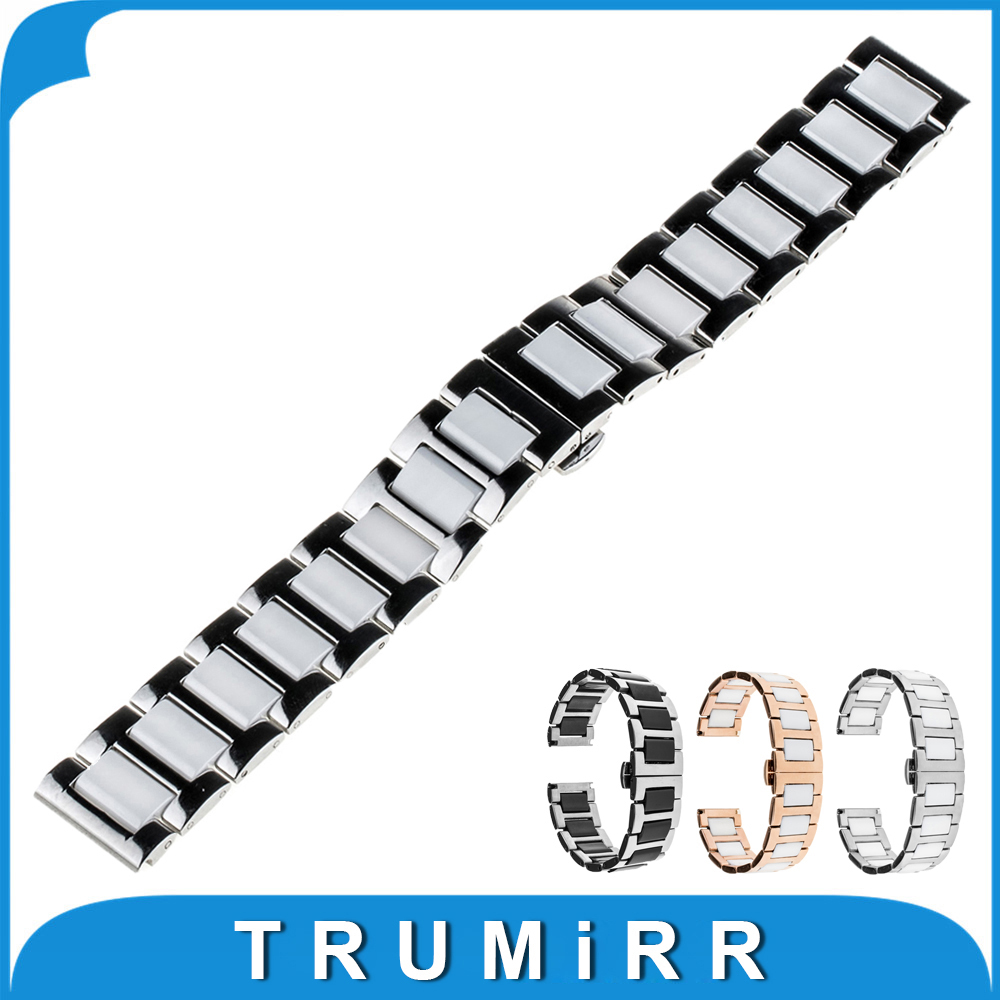 18mm 20mm 22mm Ceramic Watch Band + Tool for Hamilton Butterfly Buckle Strap Wrist Belt Bracelet Black Rose Gold White 16mm ceramic watch band for huawei talkband b3 women s butterfly buckle strap wrist belt bracelet black white tool spirng bar