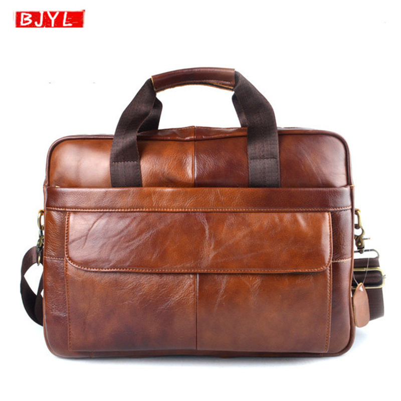 BJYL Business Genuine Leather Men's Briefcases Laptop Handbag Brown Cowhide Leather Office Shoulder Bag Vintage Travel Briefcase