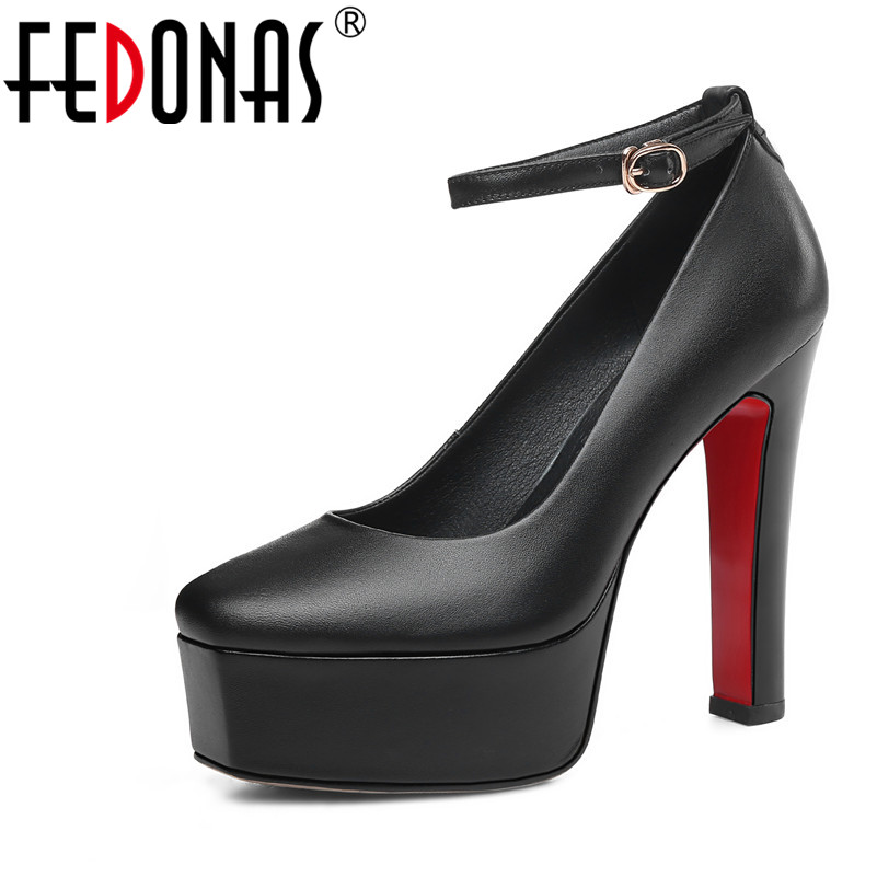 FEDONAS Classic Design Vintage Elegant <font><b>Sexy</b></font> <font><b>Platforms</b></font> Hign Quality Genuine Leather Night Club Shoes Sping Summer Shoes Woman image