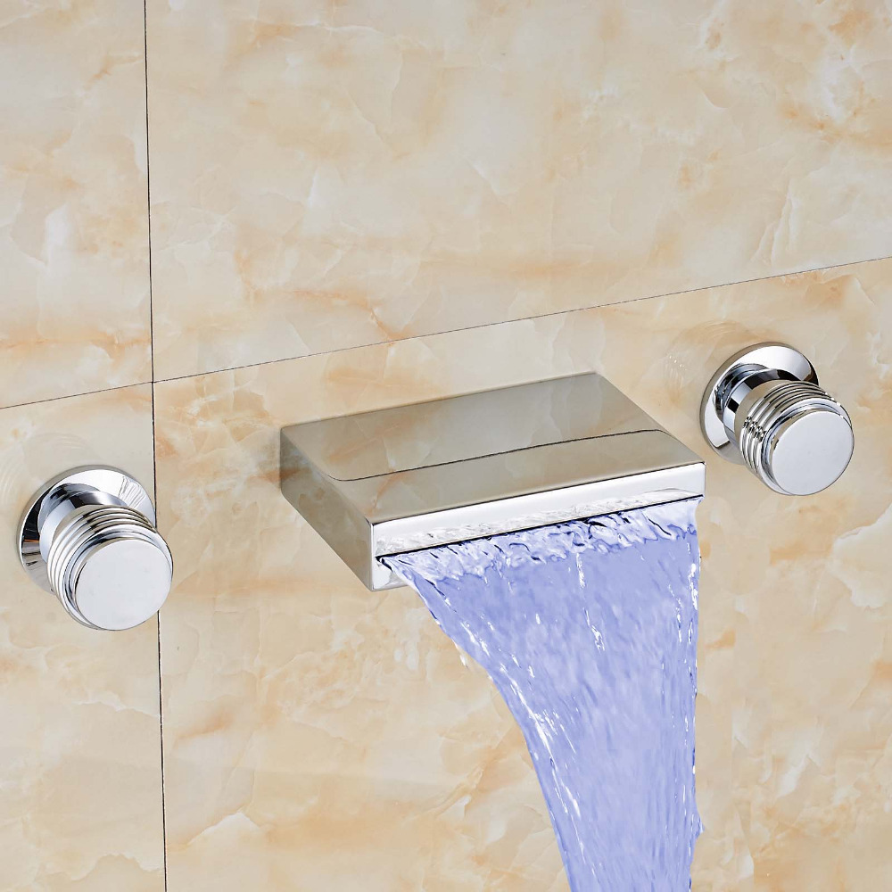 Newly Luxury Widespread Waterfall Bathroom LED Color Changing Tub ...