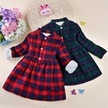 New Kids Winter Plaid christmas warm children's princes dress velvet thicken A Line long basic cotton dresses for girls