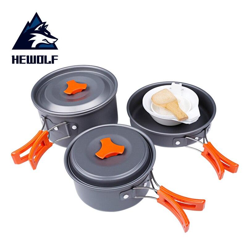 1 Set Hewolf 2-3 personnes Portable extérieur Pot casserole vaisselle en alliage d'aluminium Camping randonnée voyage cuisine ensemble antiadhésif ustensiles de cuisine