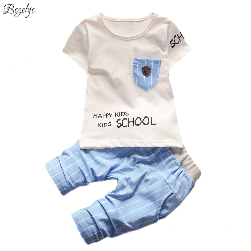 Summer Suits for Boys Short Sleeves Clothing Sets for Girls Cotton Casual Baby Set Kids Summer Clothes Outfits for Boy 2017 baby clothes for boys girls t shirt shorts suits clothing sets summer for the school kids children s clothing for boys 3 4 years