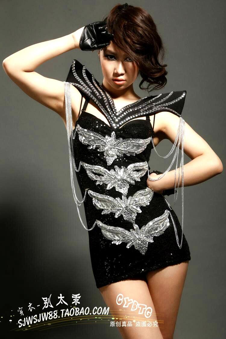 Danseur Discothèque Noir Chanteuse Sexy Bar Scintillant Color Performance Femmes Costume Argent Photo Cristaux Stade Plomb Salopette Body Xz8xqwP