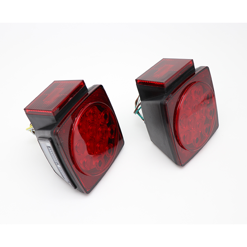 Pair HL H 001 Car Square LED Taillights Lamps For Trailer Truck Boat Waterproof