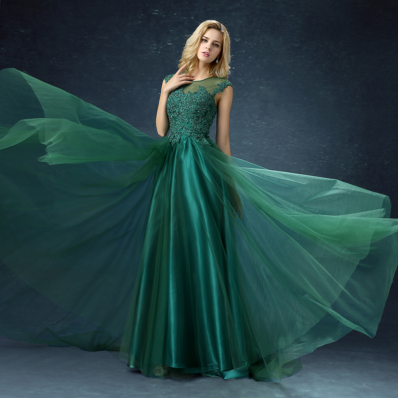 Green A-line Embroidery Court Train Long Evening Dress