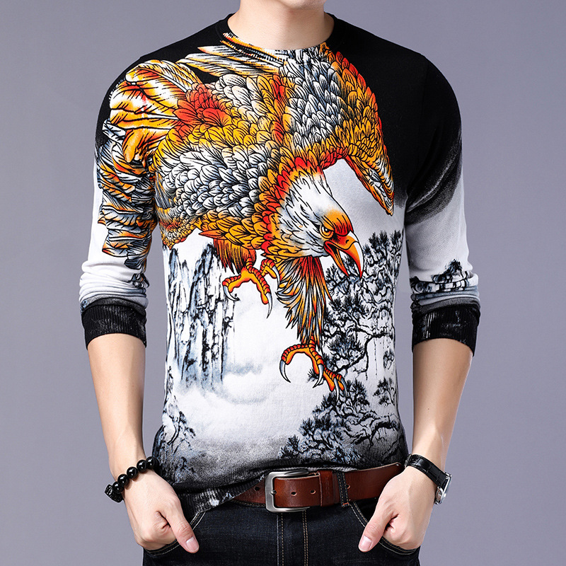 Exquisite 3D Eagle Pattern Printing Fashion Boutique Pullover Sweater Autumn 2019 Quality Cotton Soft Elastic Sweater Men M-XXXL