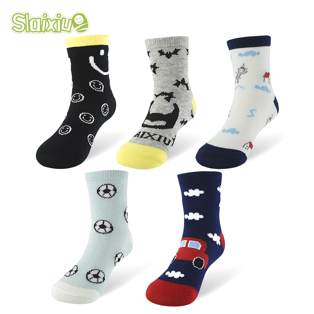SLAIXIU 5Pair Children Socks Kids Socks Baby Soft Cotton For Boys Girls Cartoon Pattern For Clothes Breathable Socks For 1-10Y