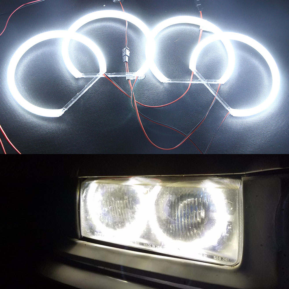 12V Car Styling 3014-SMD LED Angel Eyes Halo Ring Lighting Kit for BMW E36 E46 E39 3 5 Series Pure White Parking Drl Daylight 7000k xenon white smd led angel eyes halo ring lighting kit for bmw e46 3 series non projector free shipping