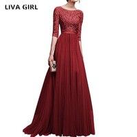 2018 yaz Zarif Kadın Çiçek Dantel Uzun Elbise Kat Uzunluk Parti Dressess Bayanlar Yarım Kollu Şifon Elbise Ile Dantel S-XXL