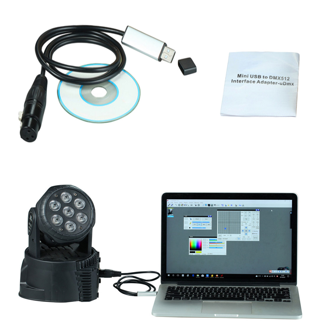 LED DMX512 Computer PC Stage Lighting Controller Dimmer USB To DMX Interface Adapter With CD