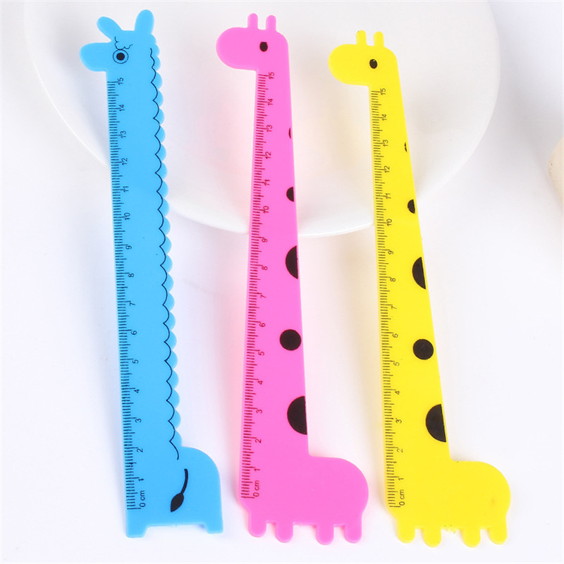 1Pc Giraffe Ruler Ruler Student Prizes Wholesale School Supplies Stationery Cute Cartoon Ruler Of 15 cm