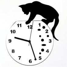 Cat on Digital Clock Acrylic Slient Wall Clock Modern Design Home Decorative Clocks for Home Office Wall Decor 9J18