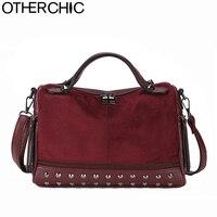 OTHERCHIC женская сумка через плечо с шипами из замши, нубук, дамская сумочка, сумка-мессенджер с заклепками, сумки на плечо 8N09-04