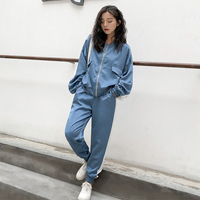 Autumn outfit women 2019 casual tracksuit women 2 piece set top and pants patchwork zipper outwear sweatsuit