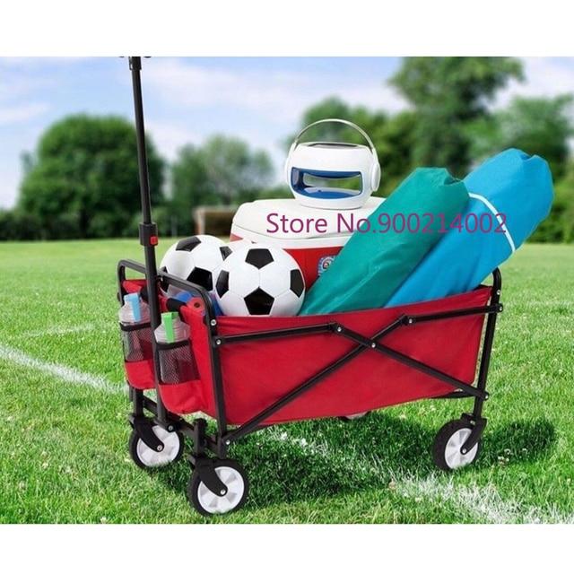 Techtongda Outdoor Garden Folding Cart Lawn Wagon New Multifunctional (Red)