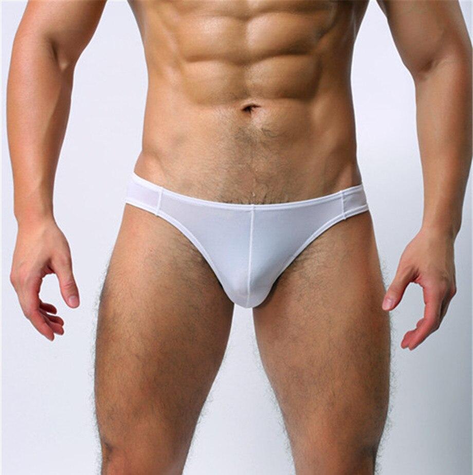 Men's Panties Sexy Ice Silk Briefs Men's Underpants Men's Low Waist U Convex Bag Underwear Men Elastic Breathable Underwear