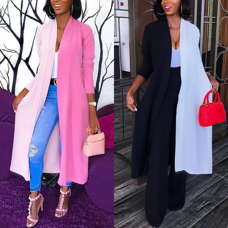 Fashion Womens Loose Long Cardigan Jacket Color Patchwork Coats Ladies Draped Tops Coat Jacket Autumn Long Innrech Market.com