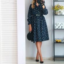 все цены на Fashion Women's Autumn Winter KlWomen's Clothing Vintage Loose Stand Collar  Sleeves Floral Print Elastic Waist Corduroy Dress онлайн