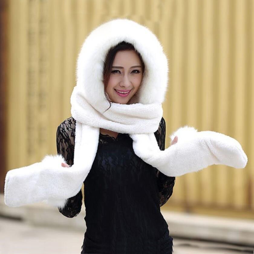 Hot Selling New Women Winter Warm Soft Plush Faux Fur Hooded Cap Scarf Gloves Girls Thick Cashmere Hats Scarves And Gloves Sets