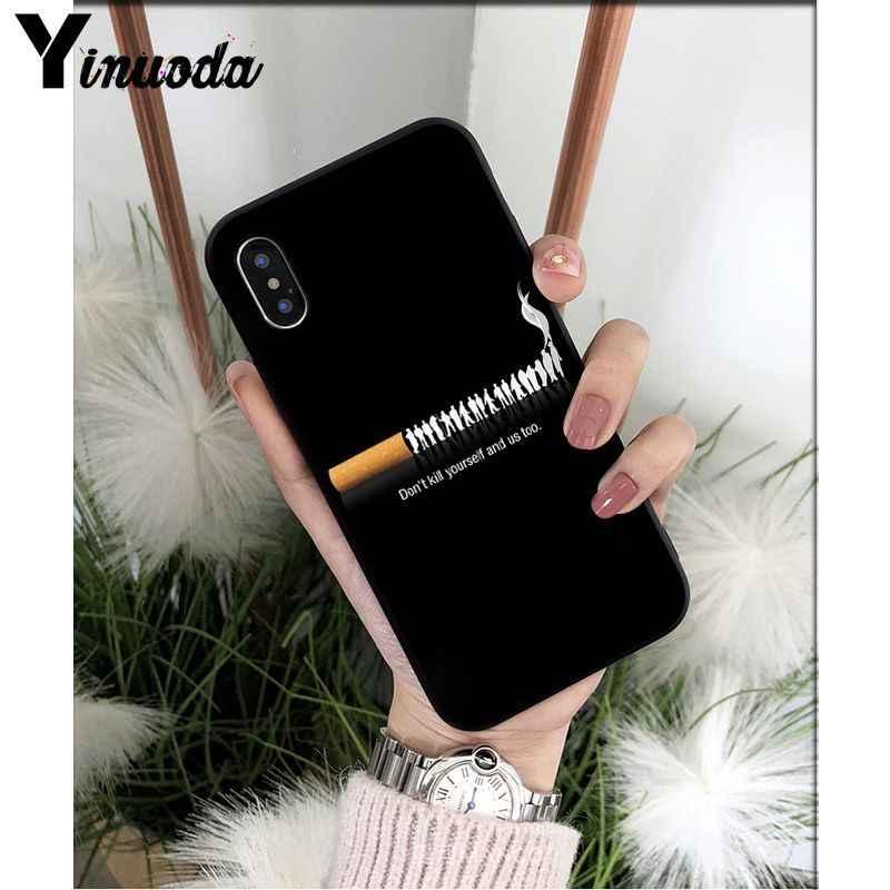 Yinuoda السجائر الجمالية غطاء ذكي الأسود لينة قذيفة جراب هاتف ل أبل فون 8 7 6 6S زائد X XS ماكس 5 5S SE XR غطاء