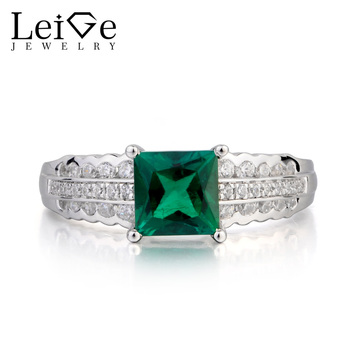 Leige Jewelry Anniversary Ring Emerald Ring May Birthstone Ring Princess Cut Green Gemstone 925 Sterling Silver Gifts for Women