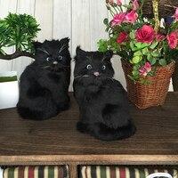 a pair of simulation sitting cat toys polyethylene & furs black cat models about 18x12x11cm 1734