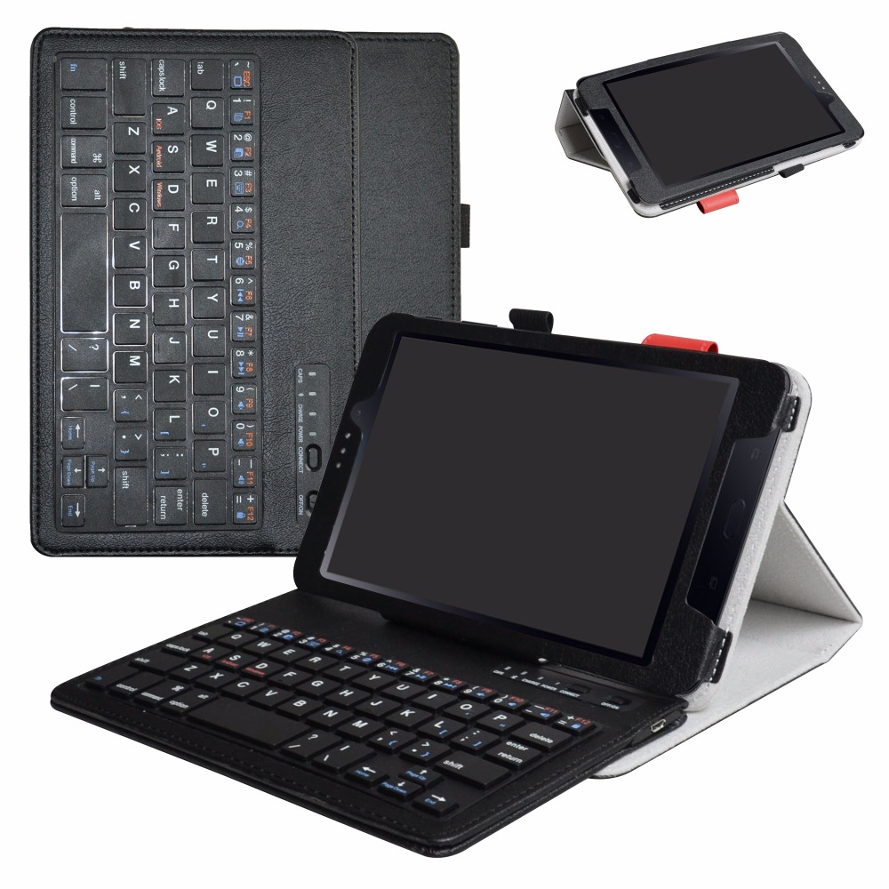 For 8.0 Samsung Galaxy Tab A 8.0 (2017), T385 / T380 Tablet Removable Bluetooth Keyboard Case Portable Folding stand Cover removable bt keyboard case cover stand for lenovo k3 lynx 11 6