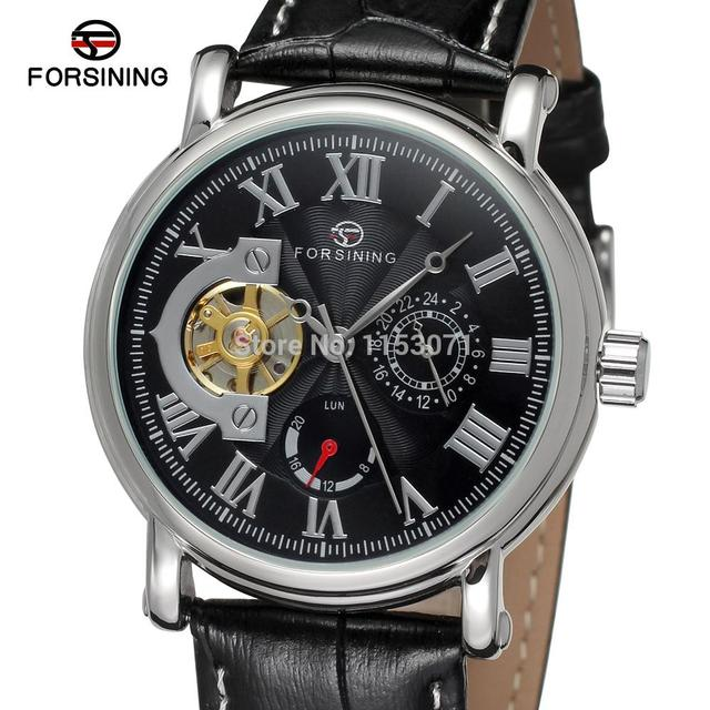 Original Forsining 95 Analog In Watch 29Off New Men'sautomatic Strap Round Black Genuine Leather Box Gift fsg800m3s8 Us31 With lcKJTF1