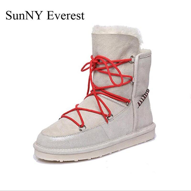 SunNY Everest PU shoes woman winter plush ankle lace-up women boots round toe flat heel black white warm 36-40 us9 winter woman boots lace up ladies flat ankle boot casual round toe women snow boots fashion warm plus cotton shoes st903