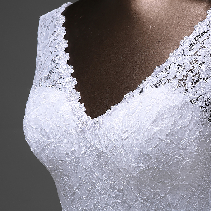 Image 3 - Free shipping  lustrous satin and lace flowers  very Sexy  Backless mermaid  Wedding Dresses vestidos de noiva robe de mariage-in Wedding Dresses from Weddings & Events