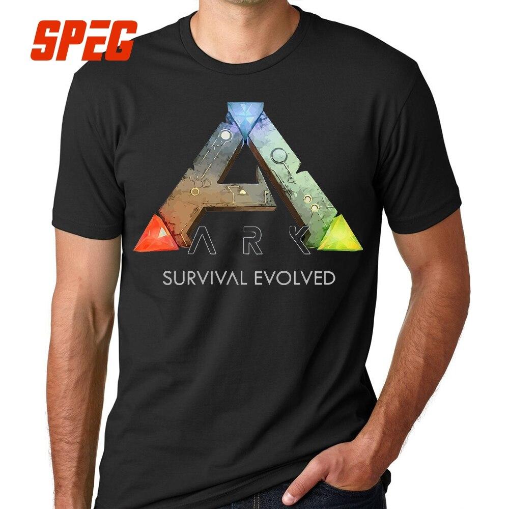 Tee Shirts Ark Survival Evolved Games Men Pre-Cotton Short Sleeve T-Shirts Casual Round Collar T Shirts Black 4XL 5XL