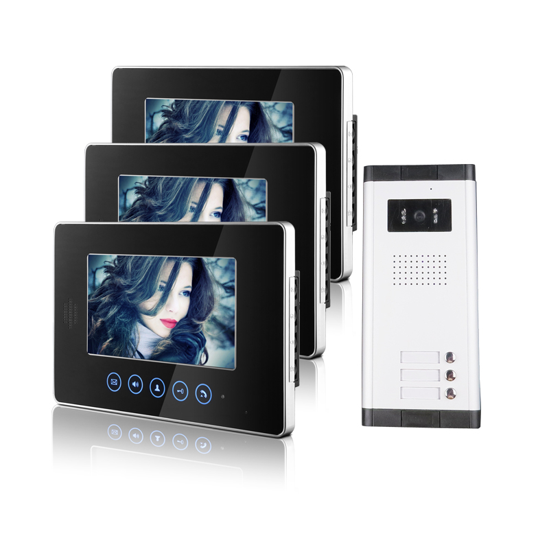 Brand New Apartment Intercom Entry 3 Monitor Wired 7 Color Touchkey Video Door Phone intercom System for 2 house FREE SHIPPING brand new apartment intercom entry system 2 monitors wired 7 color video door phone intercom system for 2 house free shipping