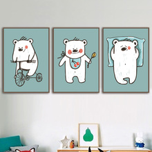 Cartoon Bear Bicycle kitchen Nordic Posters And Prints Wall Art Canvas Painting Nursery Print Pictures Kids Room Decor