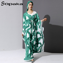 2017 Autumn Bohemian Fresh Palm Green Leaf Print Runway Maxi Dress Loose Full Sleeve Belt Control V-Neck Scarf Women Long Dress black leaf print v neck maxi dress
