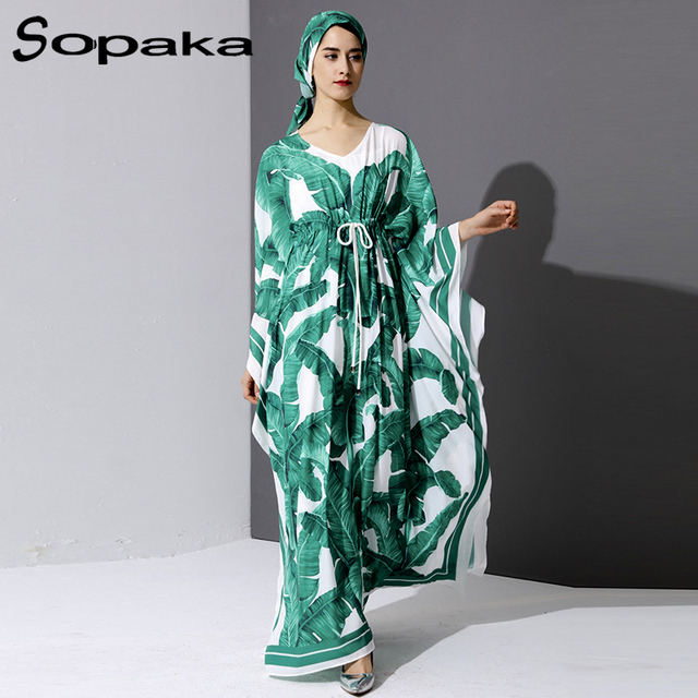d1e9f7b61309 2017 Autumn Bohemian Fresh Palm Green Leaf Print Runway Maxi Dress Loose  Full Sleeve Belt Control V-Neck Scarf Women Long Dress