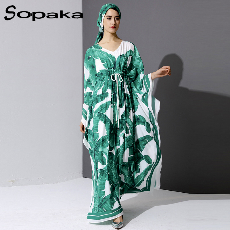 2019 automne bohème frais palmier vert feuille impression piste Maxi robe en vrac pleine manches ceinture contrôle col en v écharpe femmes longue robe
